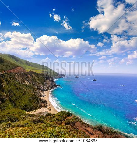 California  beach near Bixby bridge in Big Sur in Monterey County along State Route 1 US