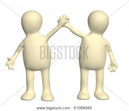 Handshake of two puppets. Isolated on white background