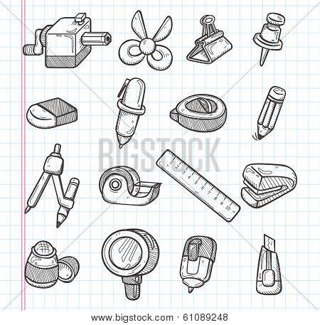 Set Of Stationery Icons