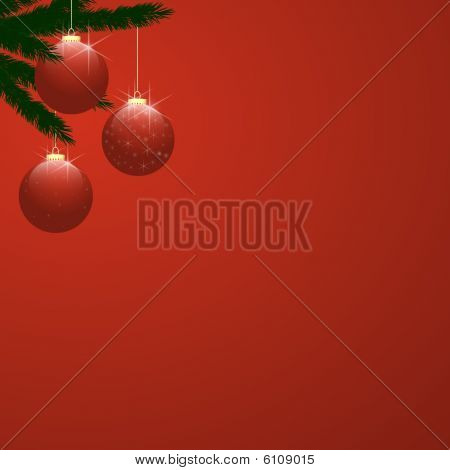 Christmas Tree Baubles On Red Gradient