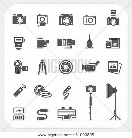 Camera Icons And Camera Accessories Icons Set