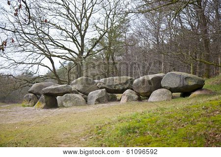 Old Stone Grave Dolmen In Drenthe, The Netherlands