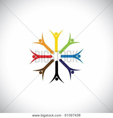 Happy Colorful People Praying Together In Circle - Concept Vector.