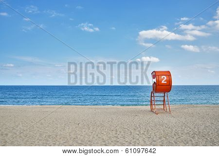 Lifeguard Tower And Sandy Beach