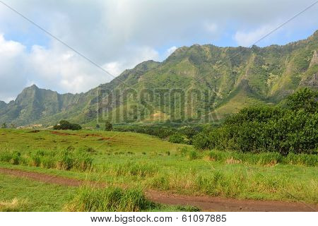 Hawaii. Mountains With Blue Sky And Clouds