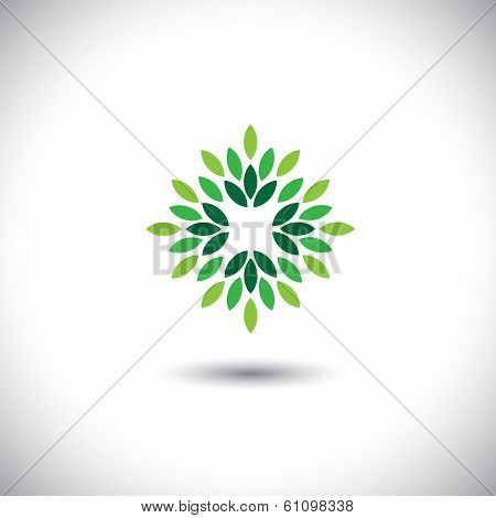 Stylized Vector Green Leaves Icon Arranged In Pattern - Eco Concept Vector