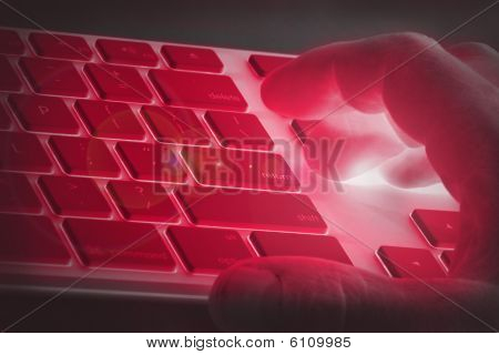 Hand on a keyboard