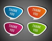 Vector thank you message stickers set. Transparent shadow easy replace background and edit colors.