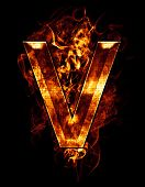 v, illustration of  letter with chrome effects and red fire on black background