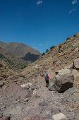 Female Trekker On Toubkal