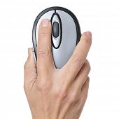 stock photo of mouse  - woman hand with a computer mouse on a white background - JPG