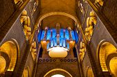MONACO-VILLE, MONACO - JULY 13, 2013: Pipe organ in Saint Nicholas Cathedral - national cathedral of