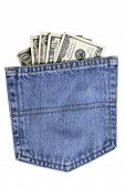Pocket of American dollar bills in blue jean pocket isolated on white background