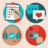 stock photo of positive negative  - Vector set of customer service in flat style  - JPG