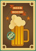 Retro beer house poster. Vector illustration.