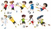 pic of spherical  - Illustration of the soccer players on a white background - JPG