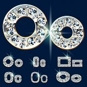 Ultimate vector alphabet of diamonds and platinum ingot. Six options. Letter o