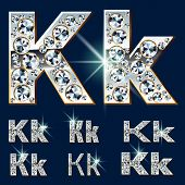 image of letter k  - Ultimate vector alphabet of diamonds and platinum ingot - JPG