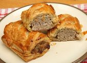 Homemade sausage rolls on a plate