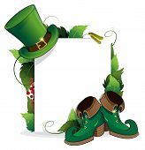 stock photo of bowler hat  - Leprechaun shoe and hat with leaves and paper scroll on white background - JPG