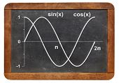 picture of sinus  - graph of sinus and cosinus functions on a vintage blackboard - JPG