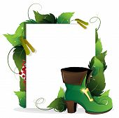 stock photo of leprechaun  - Leprechaun shoe with leaves and paper scroll on white background - JPG