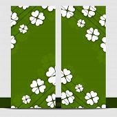 Website banner design for Happy St. Patrick's Day decorated with Irish lucky clover leaves on green