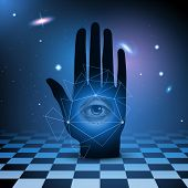stock photo of occult  - All seeing eye in hand with universe and checkered floor - JPG