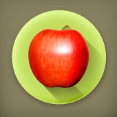 Red apple long shadow vector icon