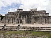 image of yucatan  - Temple of the Warriors in Chichen the Itza archaeological site in Yucatan Mexico - JPG