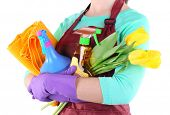 stock photo of spring-cleaning  - Housewife holding cleaning equipment in her hands - JPG