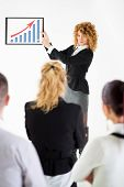 Business Woman Pointing Growing Graph