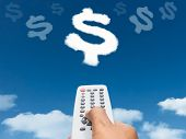 Hand Holding Remote Control Direct To Dollar Sign Shape Cloud