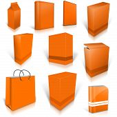 Ten Orange Blank Boxes Isolated On White