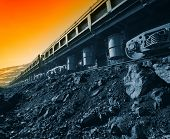 stock photo of railcar  - Railcars dumpkary career opencast iron ore - JPG