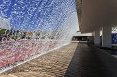 Lisbon, Portugal - August 02, 2013: Waterfall of the Jardins D�?�¢??agua (Water Gardens) in the P