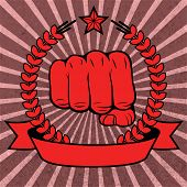 stock photo of clenched fist  - Clenched fist red poster with ribbon vector illustration - JPG