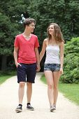 foto of stroll  - Attractive young teenage couple out walking along a path in a lush green park strolling along holding hands smiling happily at each other - JPG