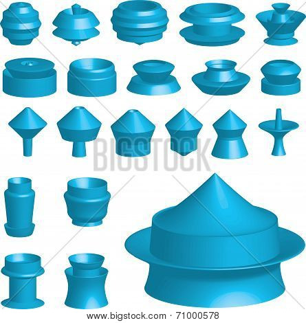 Illustration Of Various 3D Shapes On White Background