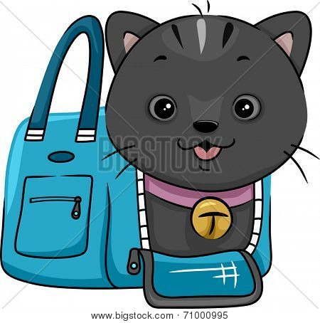 Illustration Featuring a Cat Peeking From a Cat Carrier