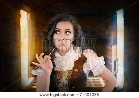 Steampunk Girl with Lorgnette