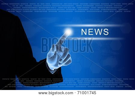Business Hand Clicking News Button On Touch Screen