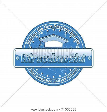 German 'Job offer' blue Label / Stamp.