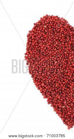 Dried red pepper in shape of heart half.