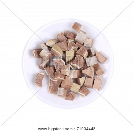Small pieces of chopped cow tongue.