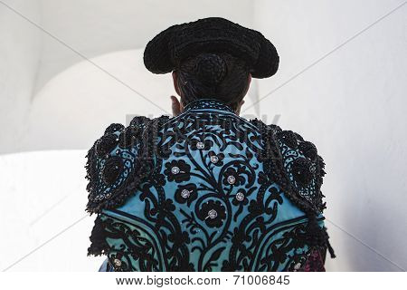 Bullfighter With The Hands On The Cap Before Going Out To The Bullring Of Baeza, Jaen Province, Anda