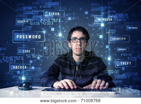 Hacker programing in technology enviroment with cyber icons and symbols