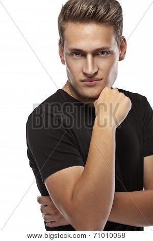 Cool Young Sexy Man Standing Isolated On White Background