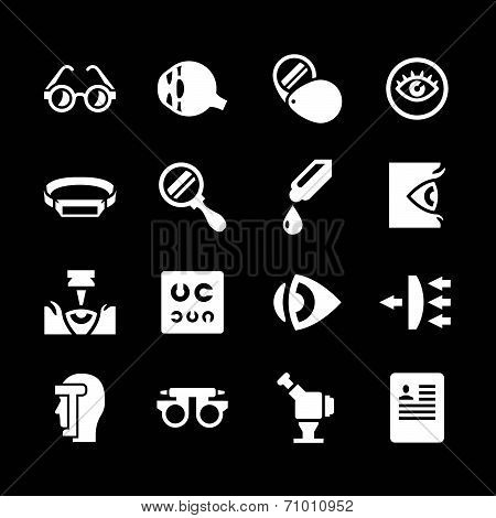 Set Icons Of Ophthalmology And Optometry