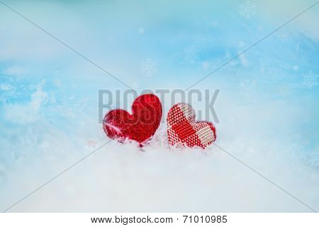 Two Rag Hearts On The Snow